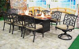 Patio dining table with built in fire pit 9 piece set outdoo