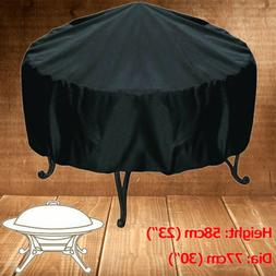 Patio Round Fire Pit Cover Waterproof UV Protector Grill BBQ