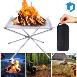 Portable Outdoor Fire Pit Steel Mesh Fireplace fr Camping Co