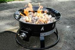 Portable Propane Outdoor Fire Pit With Decorative Lava Rocks