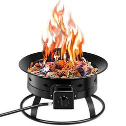 Propane Gas Fire Pit Portable Outdoor Use W/Cover &Carry Kit