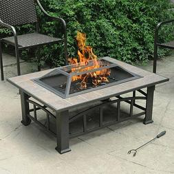 Rectangular Tile Table Top Outdoor Fire Pit Fireplace Backya