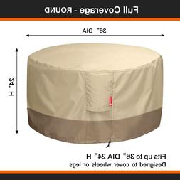 Round Fire Pit Cover Heavy Duty 600D Outdoor Patio Table PVC