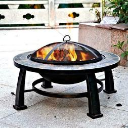 Round Fire Pit For Patio Backyard Burn Wood Logs  Mesh Cover