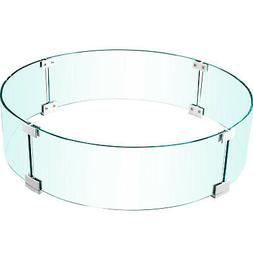 VEVOR Round Fire Pit Wind Guard Fence Tempered Glass 23x23x8