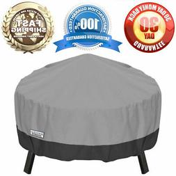 """Round Fire Pit Winter Cover Waterproof 44"""" Grey Outdoor All"""