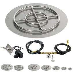 American Fireglass Round Flat Fire Pit Kit Spark Ignition 12