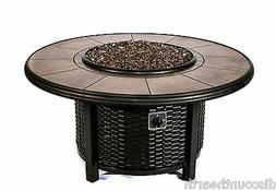 Dreffco Round Wicker Fire Pit Table Outdoor in Natural or Pr