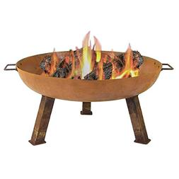 Sunnydaze Rustic Cast Iron Wood Burning Fire Pit Bowl, 30 In