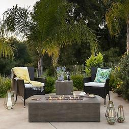 Rustic Large Patio Propane Fire Pit Table w/ Side Table Tank