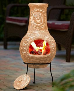 Rustic Southwest Country Vintage Clay Chiminea Outdoor Fire