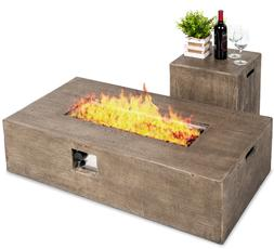 Rustic Wood Look Fire Pit Table with Tank Cover Lava Rocks P