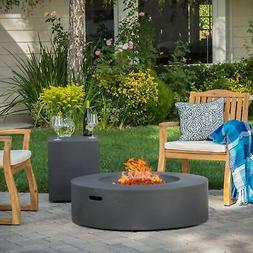 Santos Outdoor Circular Propane Fire Pit Table with Tank Whi
