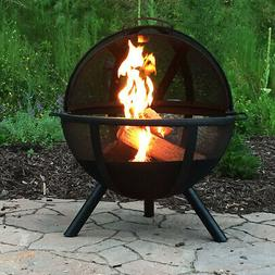Sunnydaze 30 Inch Sphere Black Flaming Ball Fire Pit with Pr