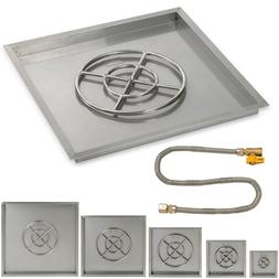 American Fireglass Stainless Steel Square Drop-In Fire Pit M