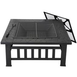 "Square Metal 32""  Fire Pit Outdoor Patio Garden Backyard Sto"