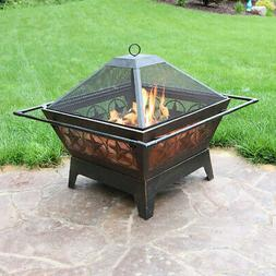 Sunnydaze 32 Inch Square Northern Galaxy Fire Pit with Cooki