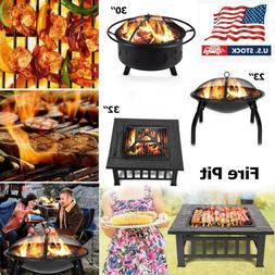 Square Round Fire Pit BBQ Grill Outdoor Garden Party Brazier