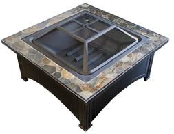 Square Slate Top Wood Burning Fire Pit Outdoor Cooking Steel