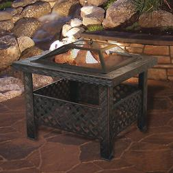 square woven metal fire pit with spark