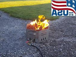 """Stainless Steel Portable Propane Fire Pit Bowl 16"""" Hexagon -"""