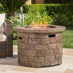 Stillwater Outdoor Circular Fire Table by Christopher Knight