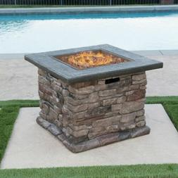Stone Outdoor Natural Stone Finished Propane Fire Pit -- 40,