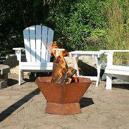 """Sunnydaze 23"""" Fire Pit Steel with Oxidized Rustic Finish and"""