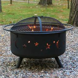 """Sunnydaze 30"""" Fire Pit Steel Cosmic Design with Cooking Gril"""