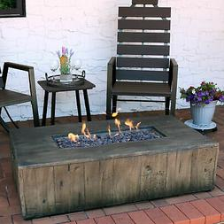 Sunnydaze Rustic Faux Wood Propane Gas Fire Pit Table with C