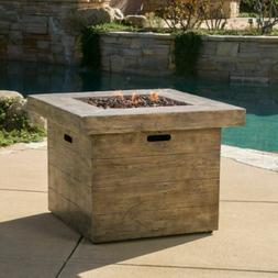 Tompkins Outdoor Square Brown Lightweight Concrete Fire Pit