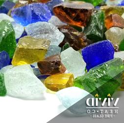 VIVID SEA GLASS Large Fireplace Fire Pit Glass Crystals Blue