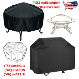 Waterproof BBQ Grill Cover Round Fire Pit Barbecue Protector
