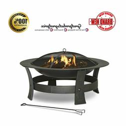 Wood-Burning Fire Pit 35-in Round Bowl Black Steel Spark Scr