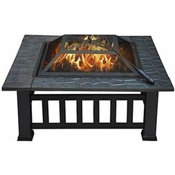 Yaheetech 32&quot Outdoor Metal Firepit Square Table Backyar